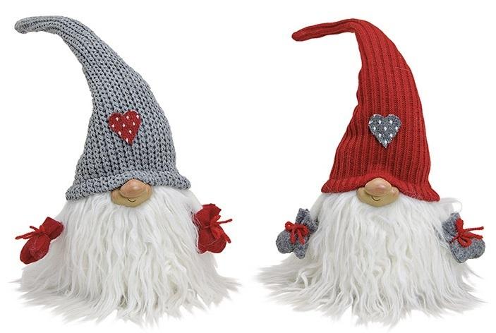 Wichtel weißer Bart mit Strickmütze mit Herz 38cm Weihnachten NEU