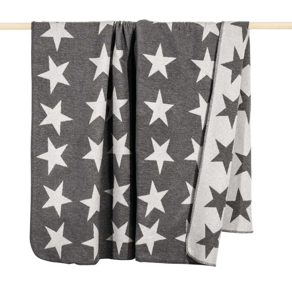 Pad Decke Sterne Stars Grau Kuscheldecke Wohndecke 200x150 Cm