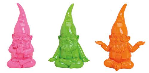 Gartenzwerg weiß Mütze grün//gelb//koralle 11cm Gift Company