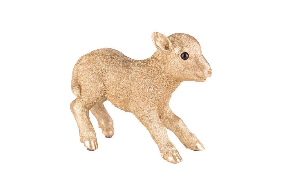 Bloomingville Deko-Figur Mini Lamm Porzellan gold Ostern