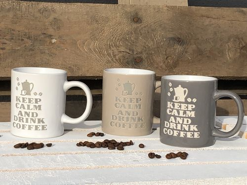 "Spruch- Tasse ""Keep calm and drink coffee"" 3-er Set 300ml"