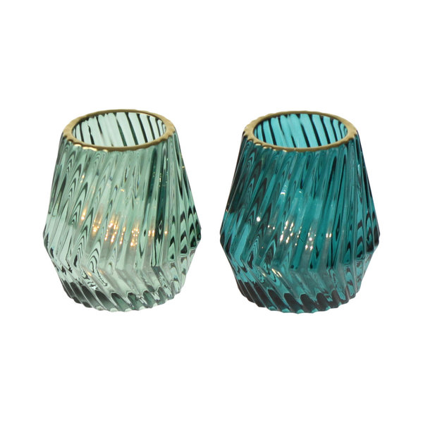 Windlicht Glas Fancy mit Goldrand im 2-er Set 9 cm