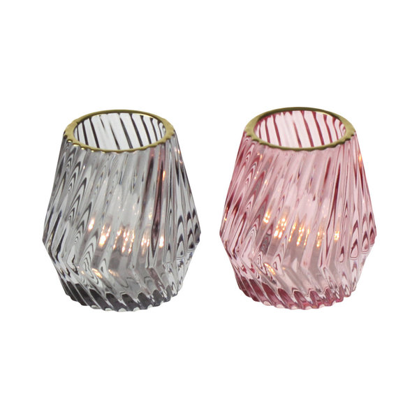 Windlicht Glas Fancy mit Goldrand im 2-er Set rosa/grau 9 cm